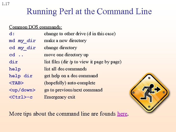 1. 17 Running Perl at the Command Line Common DOS commands: d: change to