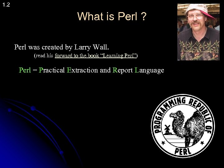 1. 2 What is Perl ? Perl was created by Larry Wall. (read his