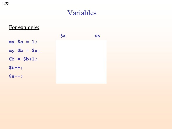 1. 28 Variables For example: $a $b my $a = 1; 1 my $b