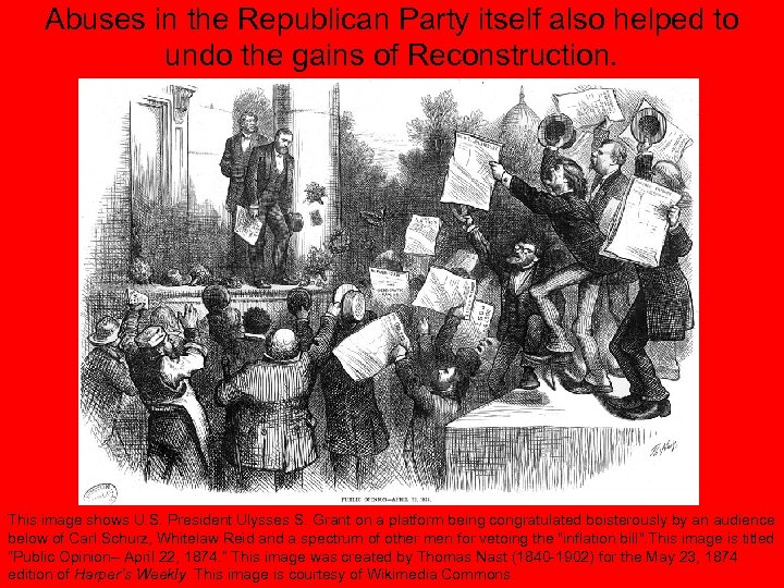 Abuses in the Republican Party itself also helped to undo the gains of Reconstruction.