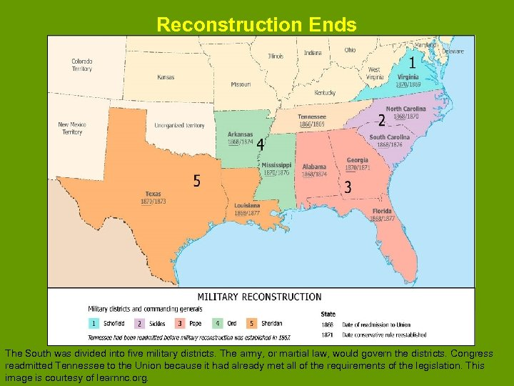 Reconstruction Ends The South was divided into five military districts. The army, or martial