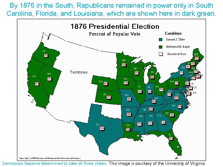 By 1876 in the South, Republicans remained in power only in South Carolina, Florida,