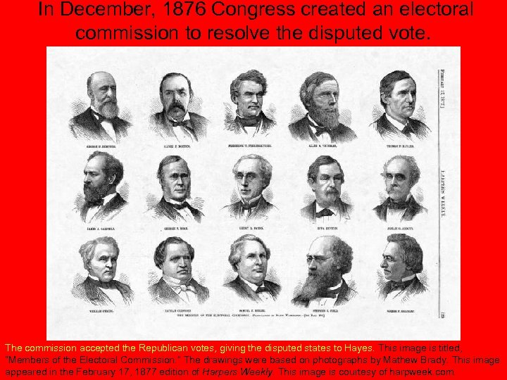 In December, 1876 Congress created an electoral commission to resolve the disputed vote. The