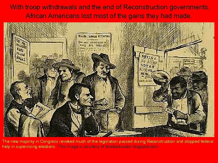 With troop withdrawals and the end of Reconstruction governments, African Americans lost most of