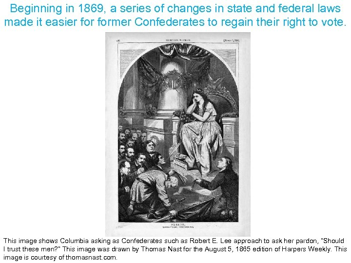 Beginning in 1869, a series of changes in state and federal laws made it