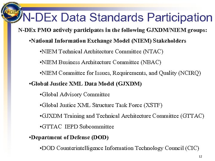 N-DEx Data Standards Participation N-DEx PMO actively participates in the following GJXDM/NIEM groups: •