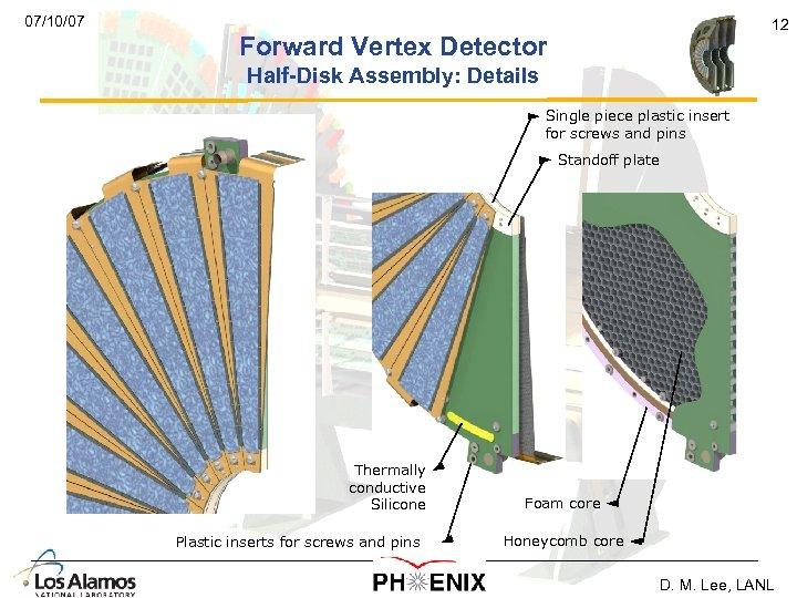 07/10/07 12 Forward Vertex Detector Half-Disk Assembly: Details Single piece plastic insert for screws