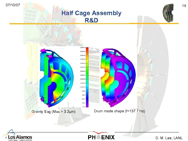 07/10/07 16 Half Cage Assembly R&D Gravity Sag (Max = 3. 2µm) Drum mode