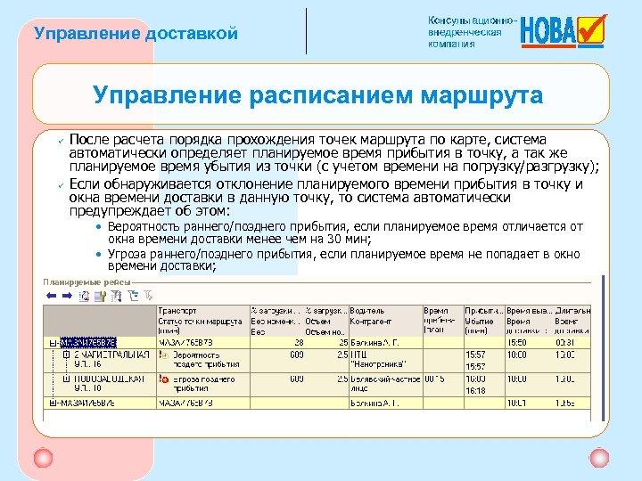 Управление доставкой Управление расписанием маршрута ü ü После расчета порядка прохождения точек маршрута по