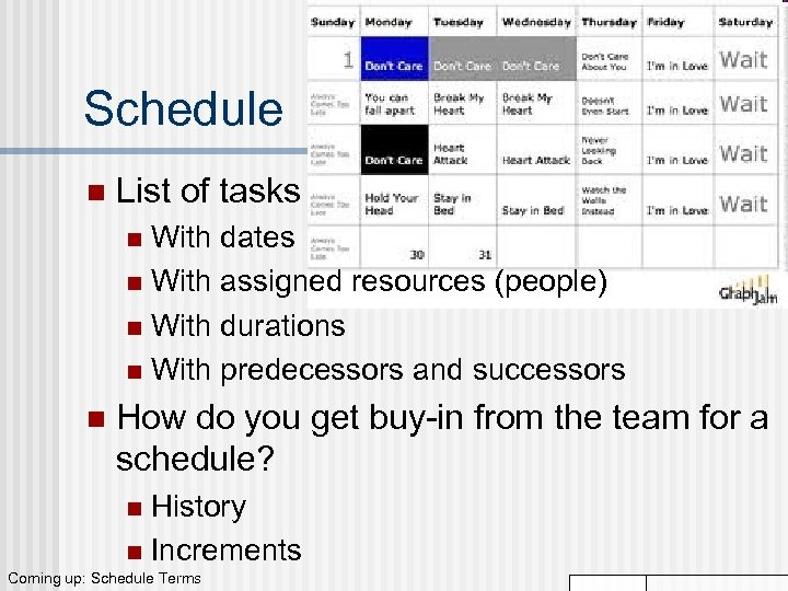 Schedule n List of tasks With dates n With assigned resources (people) n With