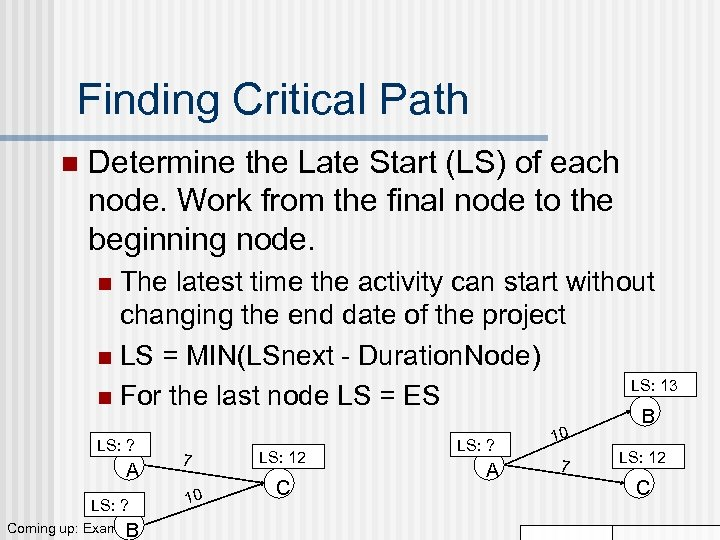 Finding Critical Path n Determine the Late Start (LS) of each node. Work from