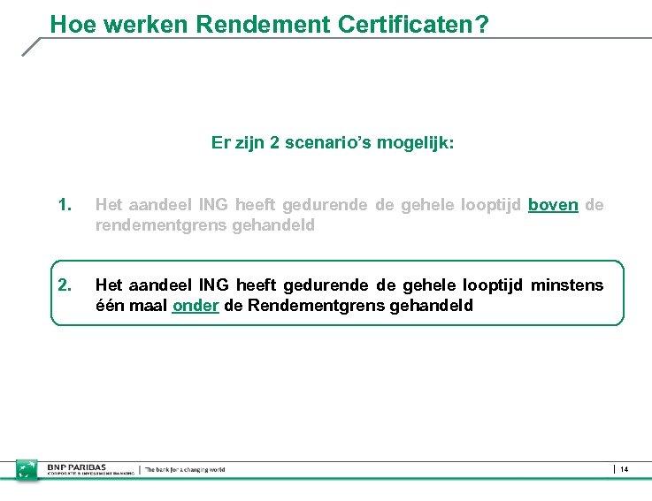 Hoe werken Rendement Certificaten? Er zijn 2 scenario's mogelijk: 1. Het aandeel ING heeft