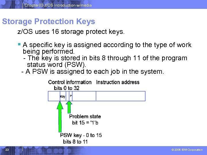 Chapter 03 z/OS Introduction w/media Storage Protection Keys z/OS uses 16 storage protect keys.