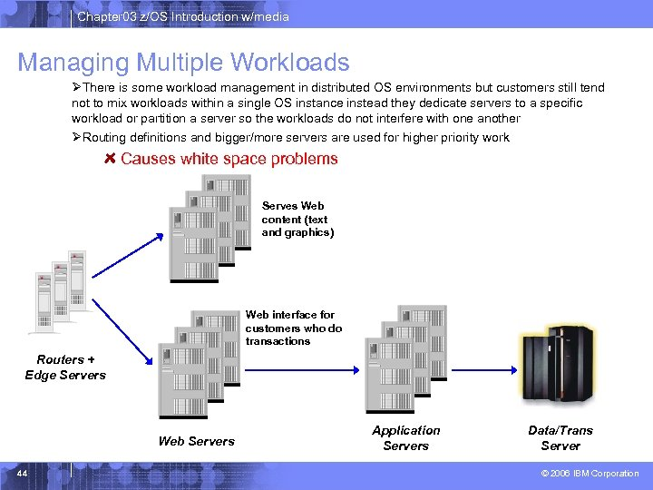 Chapter 03 z/OS Introduction w/media Managing Multiple Workloads ØThere is some workload management in