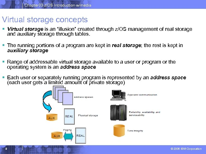 "Chapter 03 z/OS Introduction w/media Virtual storage concepts § Virtual storage is an ""illusion"""