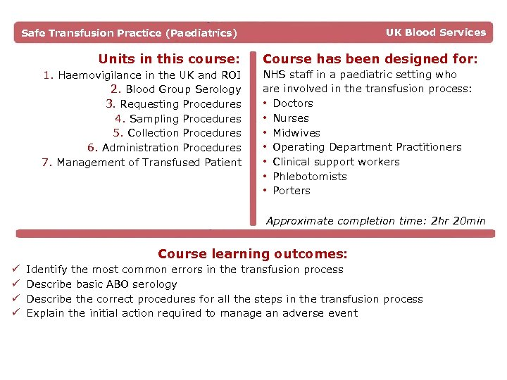 UK Blood Services Safe Transfusion Practice (Paediatrics) Units in this course: 1. Haemovigilance in
