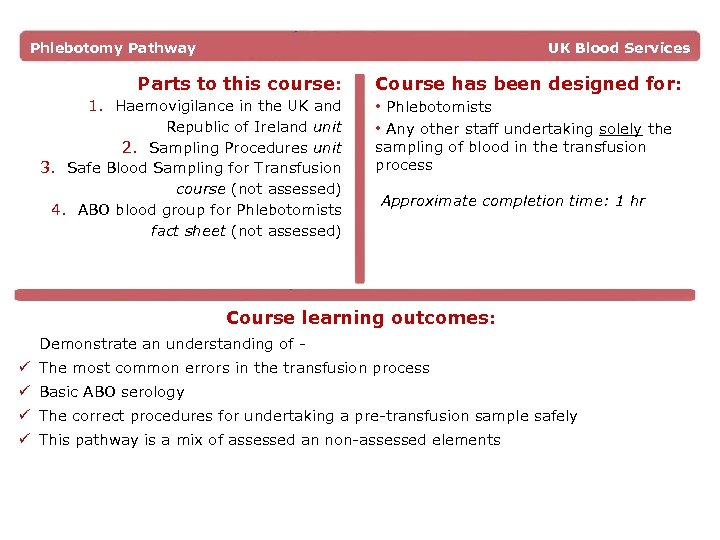 Phlebotomy Pathway UK Blood Services Parts to this course: Course has been designed for: