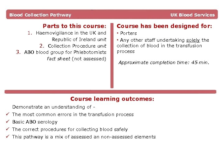 Blood Collection Pathway Parts to this course: UK Blood Services Course has been designed