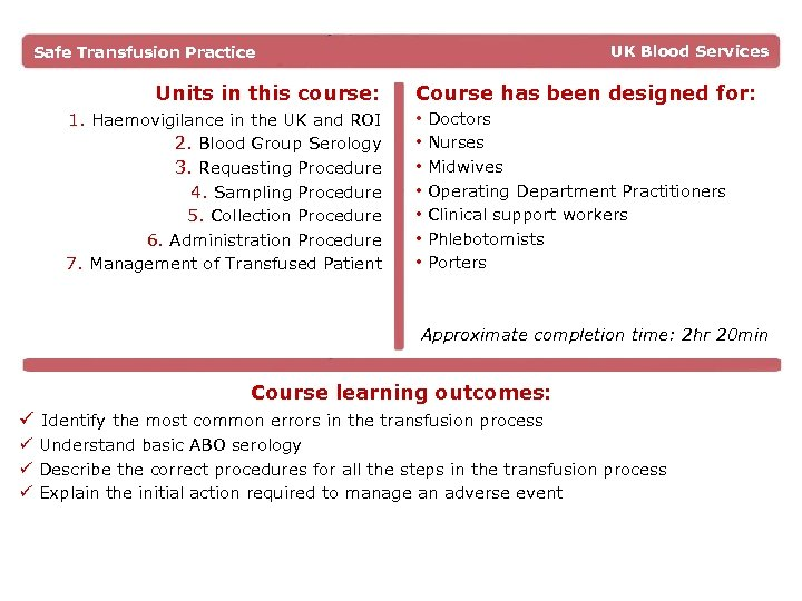 UK Blood Services Safe Transfusion Practice Units in this course: 1. Haemovigilance in the