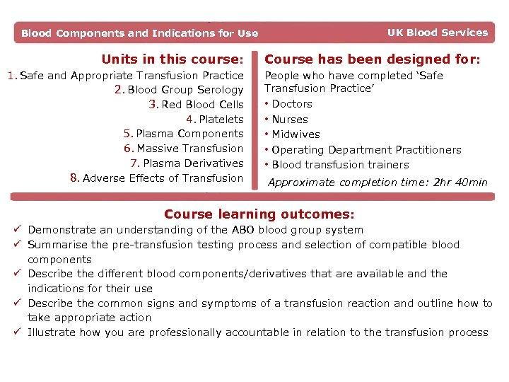 UK Blood Services Blood Components and Indications for Use Units in this course: 1.