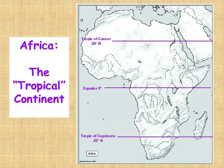 """Africa: The """"Tropical"""" Continent Tropic of Cancer 20° N Equator 0° Tropic of Capricorn"""