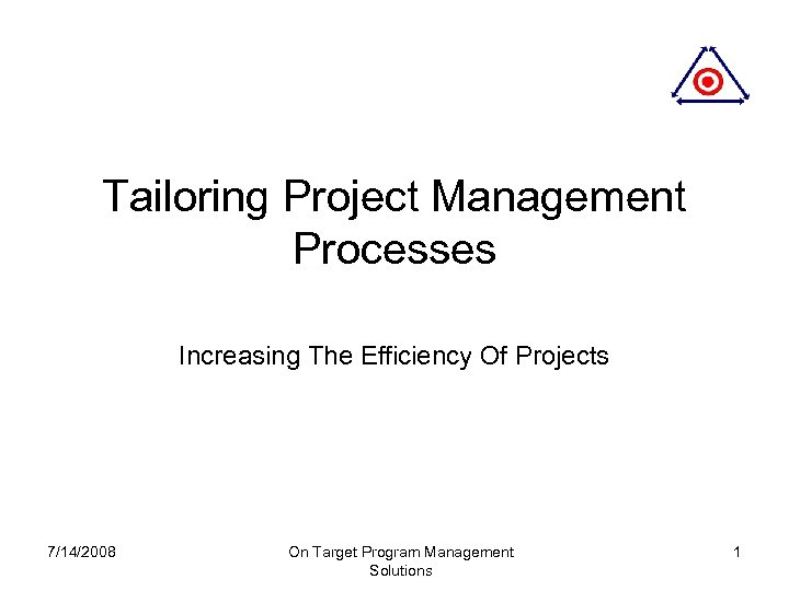 Tailoring Project Management Processes Increasing The Efficiency Of Projects 7/14/2008 On Target Program Management