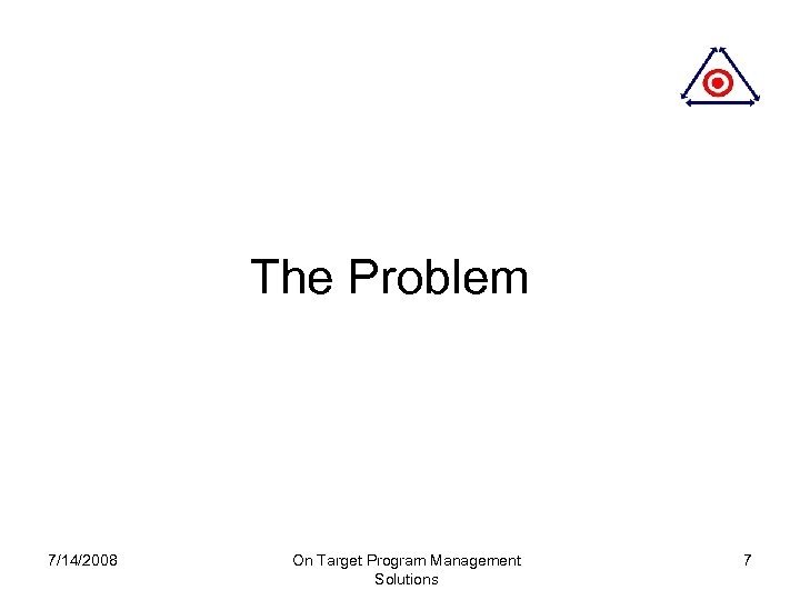 The Problem 7/14/2008 On Target Program Management Solutions 7