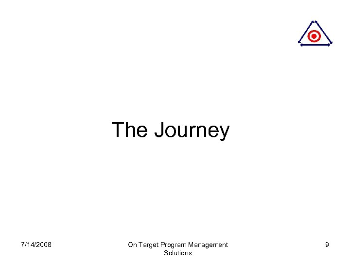 The Journey 7/14/2008 On Target Program Management Solutions 9