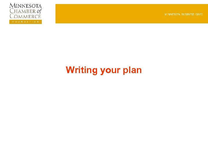 Writing your plan