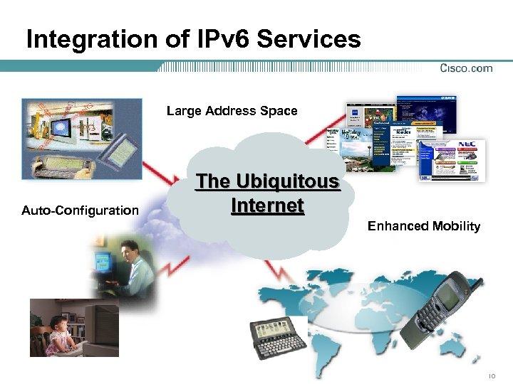 Integration of IPv 6 Services Large Address Space Auto-Configuration The Ubiquitous Internet Enhanced Mobility