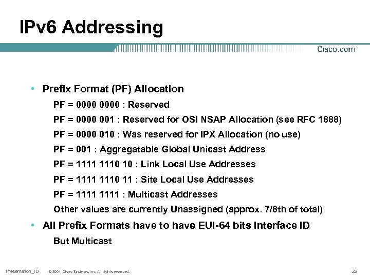 IPv 6 Addressing • Prefix Format (PF) Allocation PF = 0000 : Reserved PF