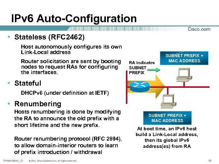 IPv 6 Auto-Configuration • Stateless (RFC 2462) Host autonomously configures its own Link-Local address