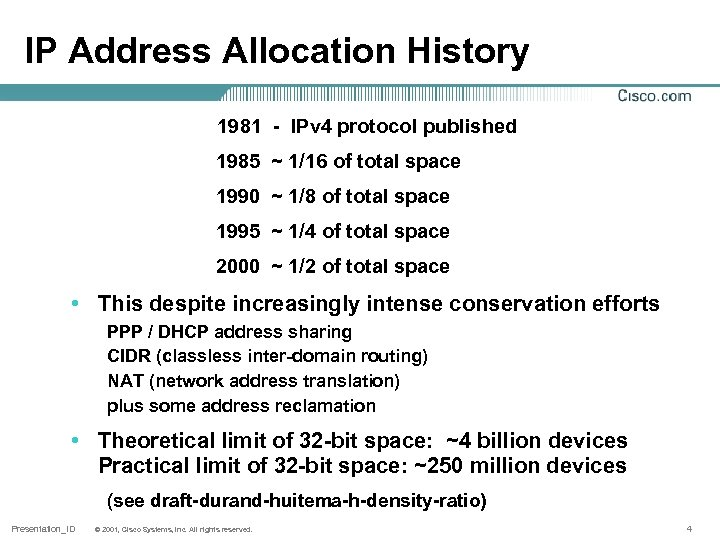 IP Address Allocation History 1981 - IPv 4 protocol published 1985 ~ 1/16 of