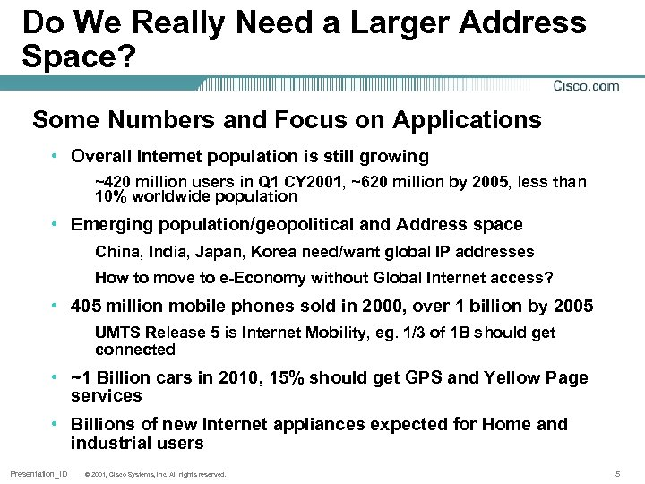 Do We Really Need a Larger Address Space? Some Numbers and Focus on Applications