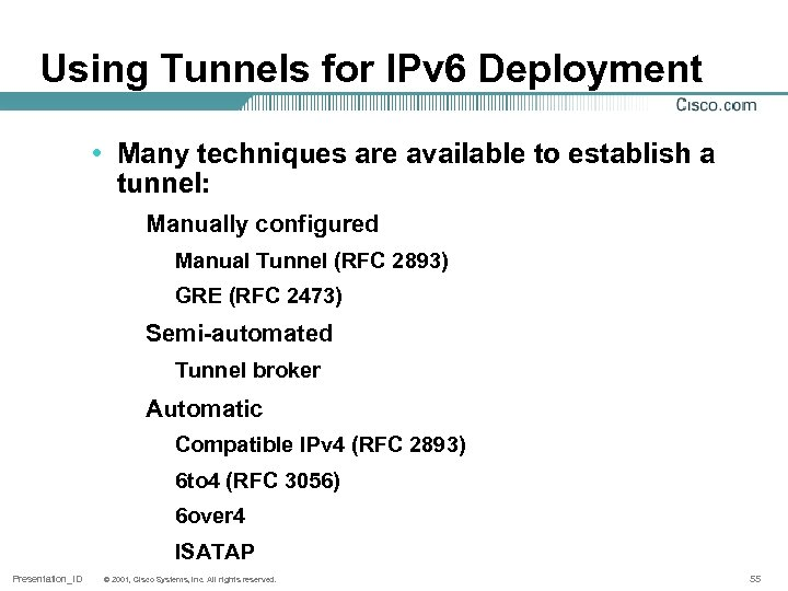 Using Tunnels for IPv 6 Deployment • Many techniques are available to establish a