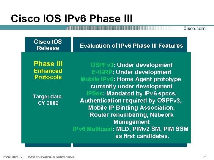 Cisco IOS IPv 6 Phase III Cisco IOS Release Phase III Enhanced Protocols Target
