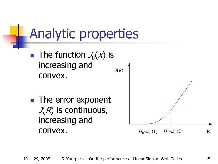 Analytic properties n n The function J 0(x) is increasing and convex. The error