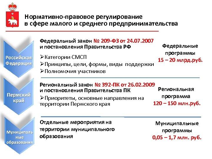 Нормативно-правовое регулирование в сфере малого и среднего предпринимательства Федеральный закон № 209 -ФЗ от