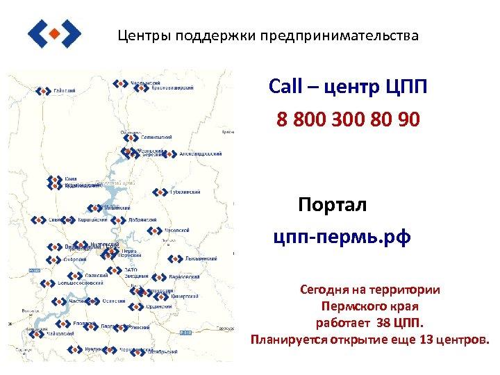Центры поддержки предпринимательства Call – центр ЦПП 8 800 300 80 90 Портал цпп-пермь.