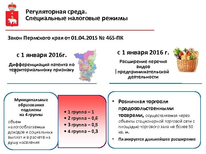 Регуляторная среда. Специальные налоговые режимы Закон Пермского края от 01. 04. 2015 № 465