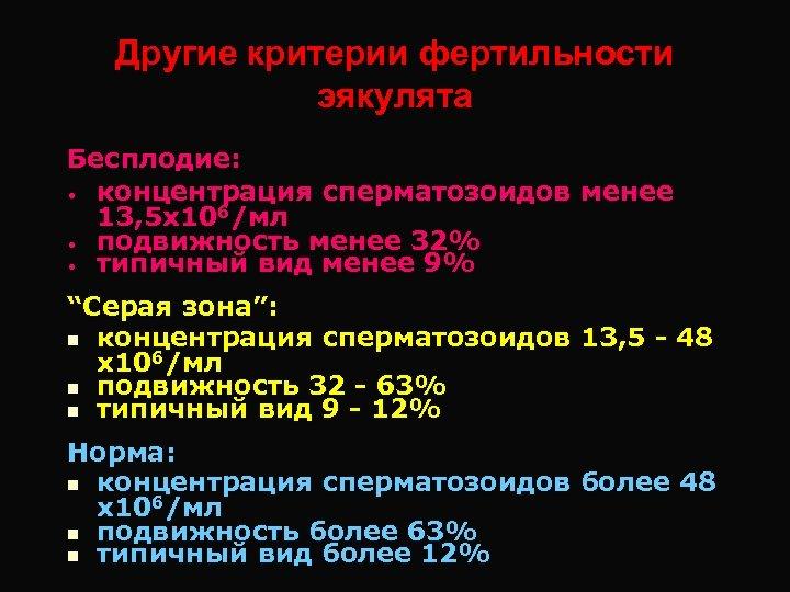 Другие критерии фертильности эякулята Бесплодие: • концентрация сперматозоидов менее 13, 5 х106/мл • подвижность