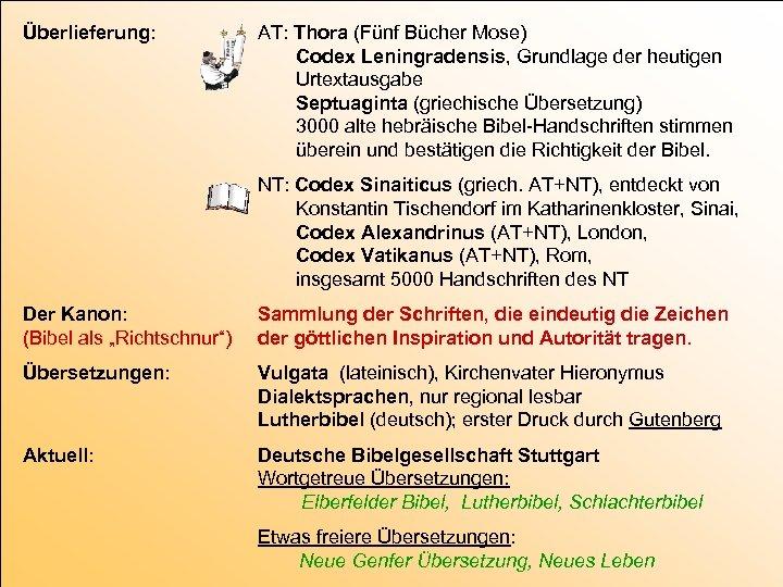 Überlieferung: AT: Thora (Fünf Bücher Mose) Codex Leningradensis, Grundlage der heutigen Urtextausgabe Septuaginta (griechische