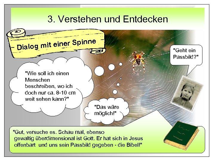 3. Verstehen und Entdecken e it einer Spinn Dialog m
