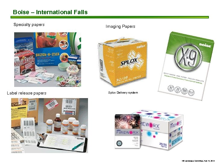 Boise – International Falls Specialty papers Label release papers Imaging Papers Splox Delivery system