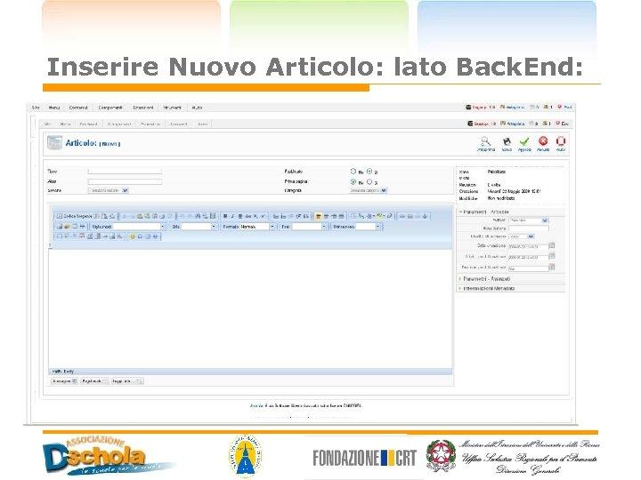 Inserire Nuovo Articolo: lato Back. End: