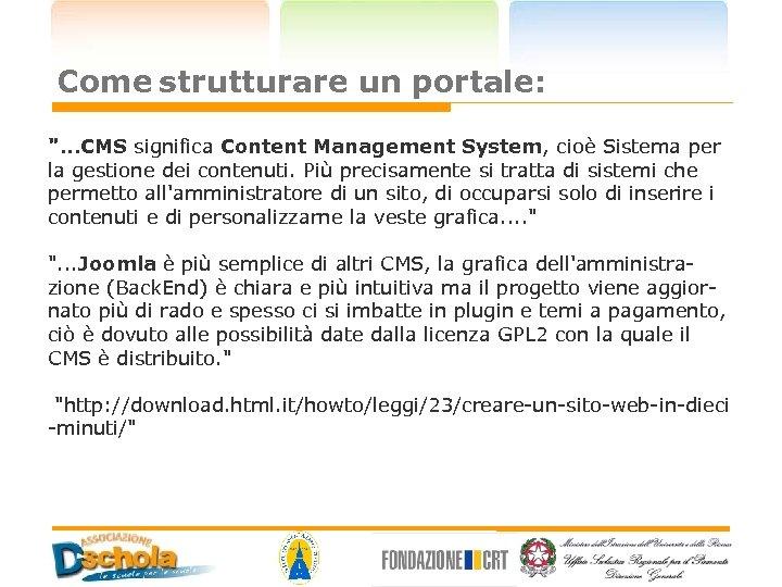Come strutturare un portale: