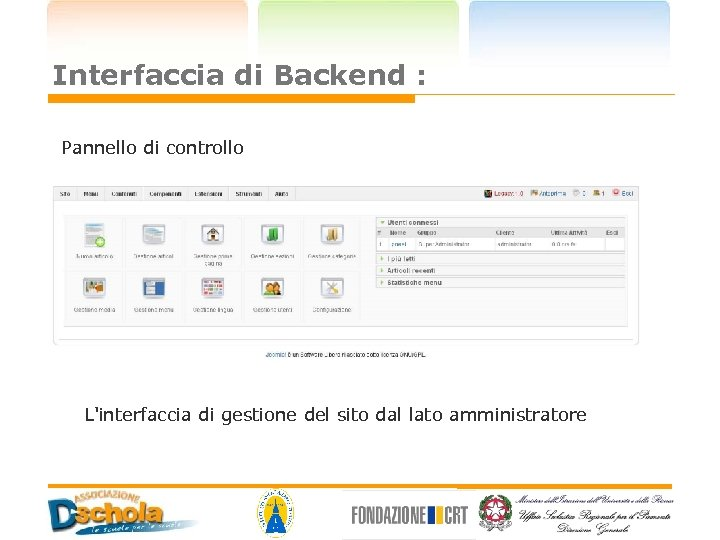 Interfaccia di Backend : Pannello di controllo L'interfaccia di gestione del sito dal lato