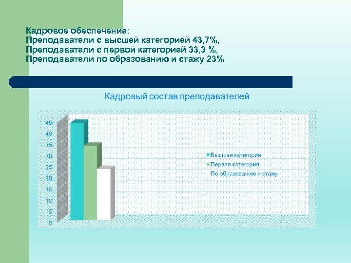 Кадровое обеспечение: Преподаватели с высшей категорией 43, 7%, Преподаватели с первой категорией 33, 3