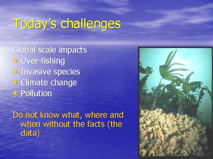 Today's challenges Global scale impacts • Over-fishing • Invasive species • Climate change •