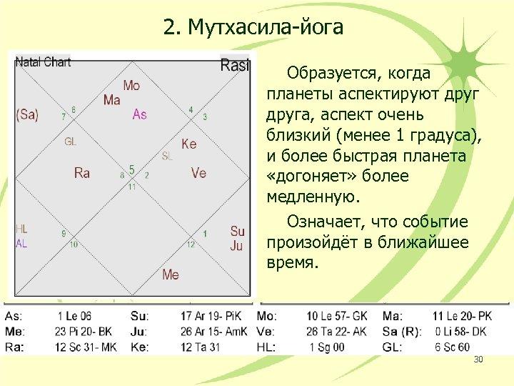 2. Мутхасила-йога Образуется, когда планеты аспектируют друга, аспект очень близкий (менее 1 градуса), и